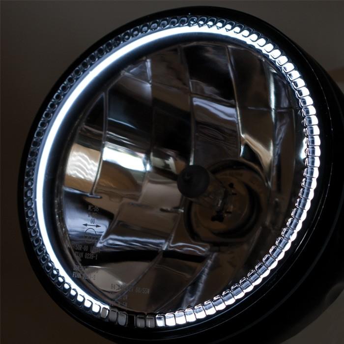 motorrad scheinwerfer h4 mit ccfl standlichtring 5 3 4. Black Bedroom Furniture Sets. Home Design Ideas