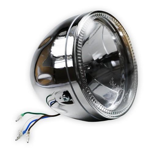 motorrad scheinwerfer h4 mit led standlichtring 5 3 4. Black Bedroom Furniture Sets. Home Design Ideas